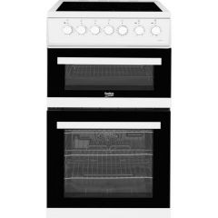 Beko EDVC503W 50cm Double Oven Electric Cooker - White - A/A Rated