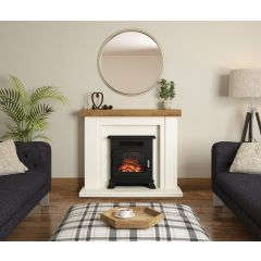 """Elgin + Hall  46"""" Bracken In Soft White And Country Oak With Bullnose Deep Hearth"""