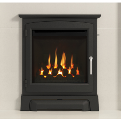 Elgin + Hall 16`Cast Stove Front ,Cast Iron Matt Black in Balanced Flue - Glass Front