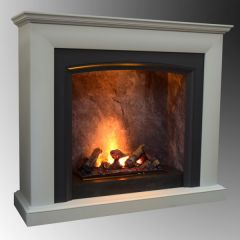 Katell Salerno 50 Inch Fireplace Italia Opti-Myst Suite In Textured White And Grey