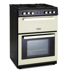 Montpellier RMC61GOC 60cm Gas Mini Range Cooker in Cream - Cast Iron Double Oven