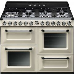 Smeg TR4110P 110Cm Victoria Gloss Cream Four Cavity Dual Fuel Traditional Cooker With Side Opening O