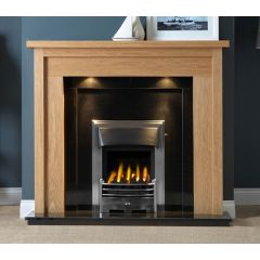The Askham Light Oak MDF/Oak Veneer Surround 54 Inch With Lights