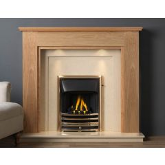 The Atwick Light Oak MDF/Oak Veneer Surround 54 Inch With Lights